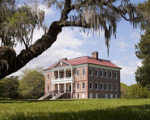Historic Poster featuring the photograph Historic Drayton Hall In Charleston South Carolina by Dustin K Ryan