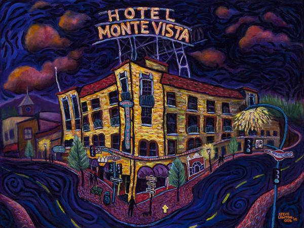 Historic Poster featuring the painting Historic Monte Vista Hotel by Steve Lawton