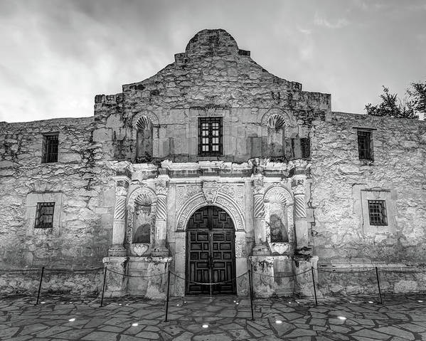Usa Poster featuring the photograph Historic San Antonio Alamo Mission - Black And White Edition by Gregory Ballos
