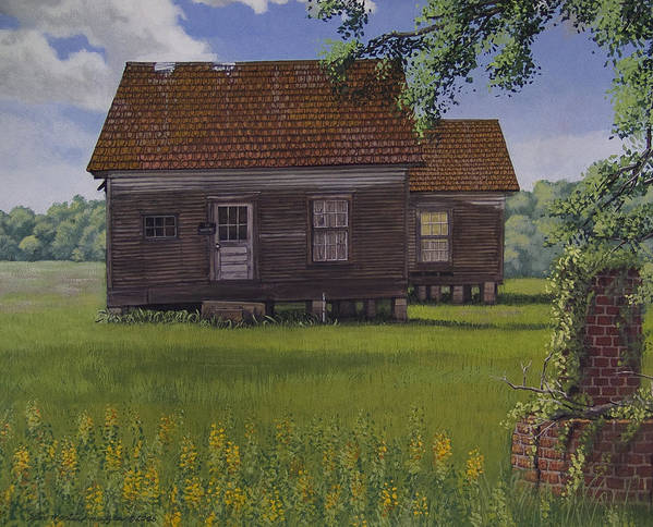 Landscape Poster featuring the painting Historical Warrenton Farm House by Peter Muzyka