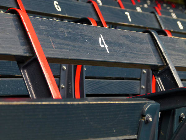 Red Sox Poster featuring the photograph Historical Wood Seating At Boston Fenway Park by Juergen Roth