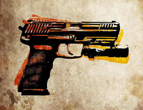 Hk45 Poster featuring the digital art Hk 45 Pistol by Michael Tompsett