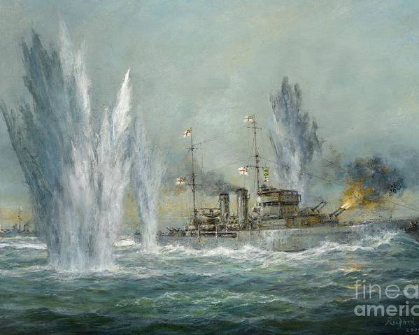 Naval; Boat; Ship; Sailing; Battleship; Warship; Seascape; Battle; Firing; Bomb; Bombing; Hms Exeter; Graf Spree; River Plate; Ships Poster featuring the painting Hms Exeter Engaging In The Graf Spree At The Battle Of The River Plate by Richard Willis