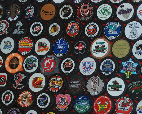 Pop Art Poster featuring the photograph Hockey Pucks by Rob Hans
