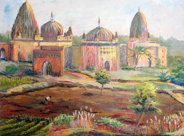 Landscape Poster featuring the painting Hoeing By Hand In Orchha India by Art Nomad Sandra Hansen