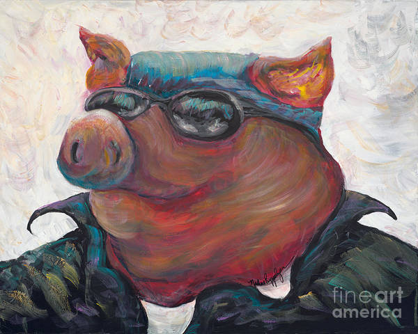Hog Poster featuring the painting Hogley Davidson by Nadine Rippelmeyer