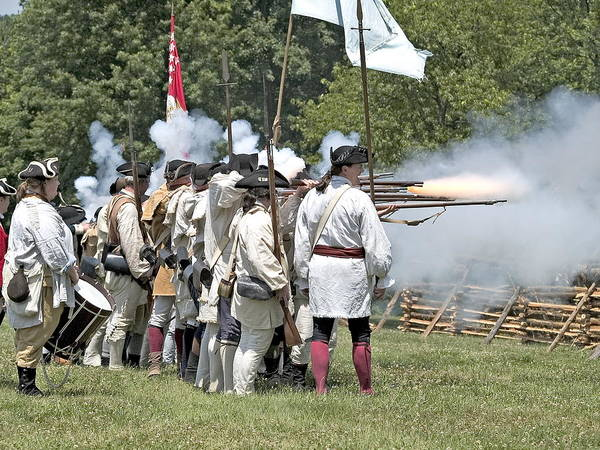 Revolution Battle Flash Musket War Re-enactment Monmouth Poster featuring the photograph Hold The Line by Harold Piskiel