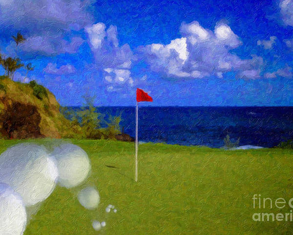 Hole In One 18th Green Ball Flag Green Ocean Palm Trees Poster featuring the photograph Fantastic 18th Green by David Zanzinger