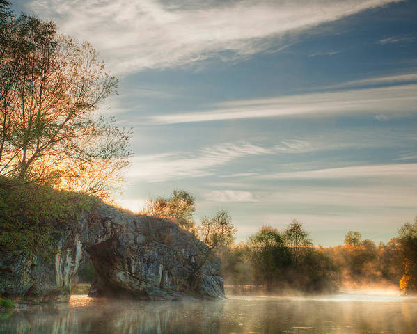 Fog Poster featuring the photograph Hole In The Rock by Evgeni Dinev