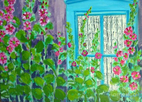 Hollyhocks Poster featuring the painting Hollyhock Surprise by Laurie Morgan