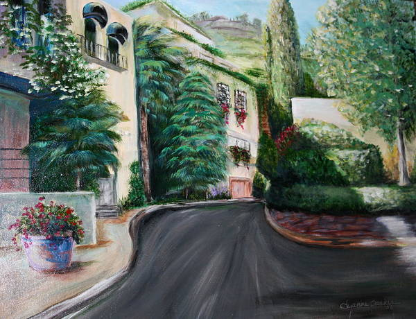 Landscape Poster featuring the painting Hollywood Hills by Dyanne Parker