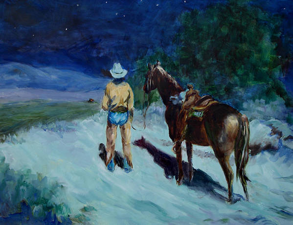 Western Poster featuring the painting Home At Last by Joanne Massingale