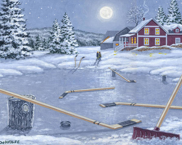 Hockey Poster featuring the painting Home For Supper by Richard De Wolfe