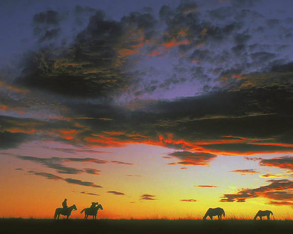Cowboys Poster featuring the photograph Home On The Range by Carl Purcell