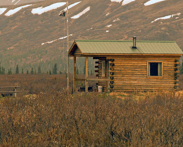 Log Cabin Poster featuring the photograph Home Sweet Fishing Home In Alaska by Denise McAllister