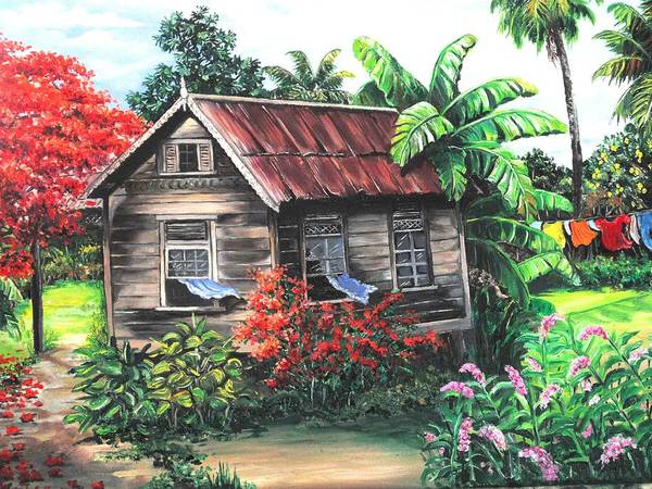 Caribbean House Poster featuring the painting Home Sweet Home by Karin Dawn Kelshall- Best