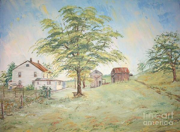 White House; 2 Sheds; Green Tree In Foreground; Set Of 4 Homeplace Prints For $100.00 Poster featuring the painting Homeplace - The Farmhouse by Judith Espinoza