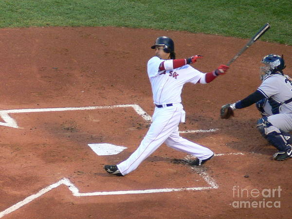 Manny Poster featuring the photograph Homerun Swing by Kevin Fortier