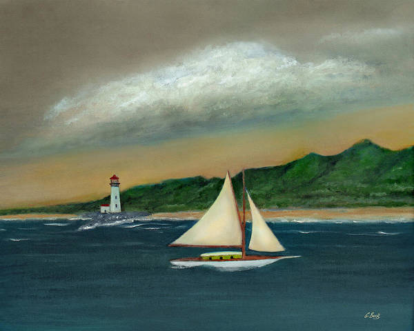 Ocean Seascape Sailboat Lighthouse Shoreline Nature Travel Gordon Beck Art Poster featuring the painting Homeward by Gordon Beck