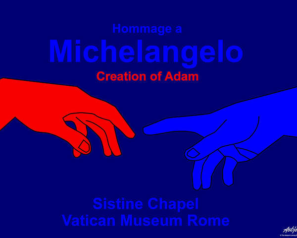 Michelangelo Poster featuring the digital art Hommage a Michelangelo by Asbjorn Lonvig