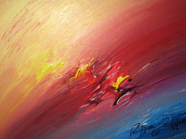 Abstract Poster featuring the painting Honeymoon Bliss - A by Brenda Basham Dothage