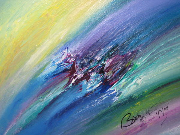 Abstract Poster featuring the painting Honeymoon Bliss - C by Brenda Basham Dothage