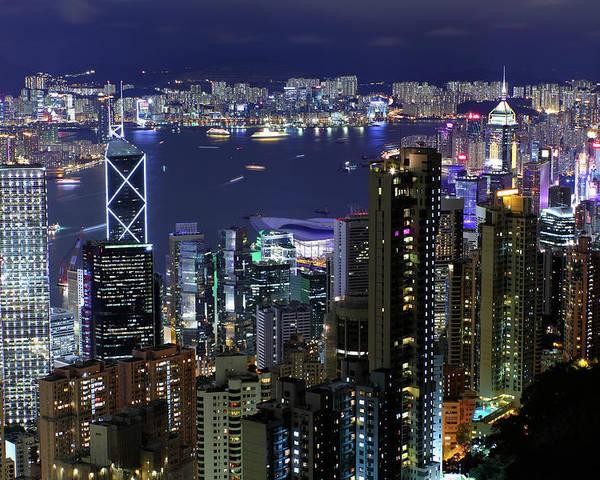 Horizontal Poster featuring the photograph Hong Kong At Night by Leung Cho Pan