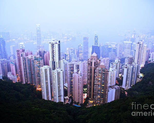 Architecture Poster featuring the photograph Hong Kong Skyline by Ray Laskowitz - Printscapes