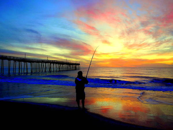 Sunrise Ocean Outer Banks Obx Sand Beach Wooden Fishing Pier Fisherman Reflection Dawn Colors Clouds Poster featuring the photograph Hookedup Color Explosion 31316 by Mark Lemmon