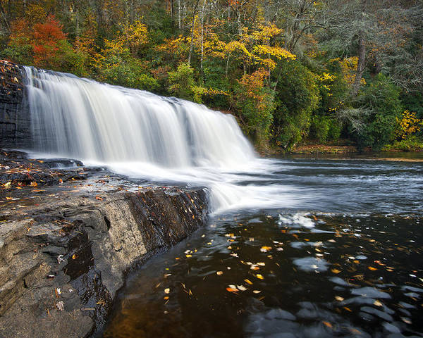 Waterfalls Poster featuring the photograph Hooker Falls In Autumn - Fall Foliage In Dupont State Forest by Dave Allen