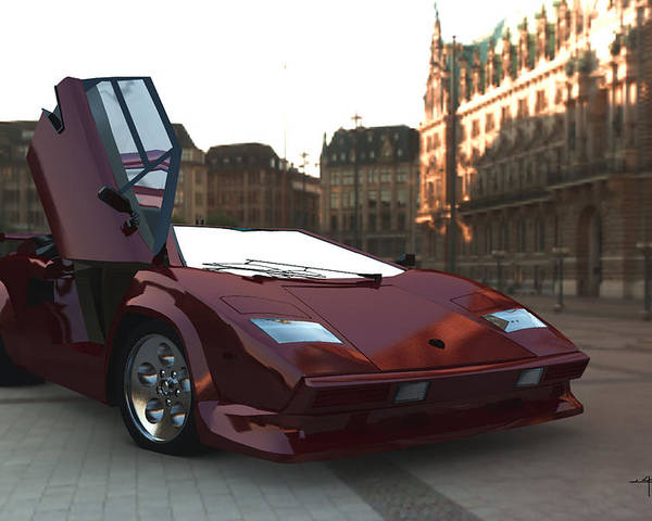 Countach Lambourghini Italian Sportscars Poster featuring the digital art Hop In by Steven Palmer