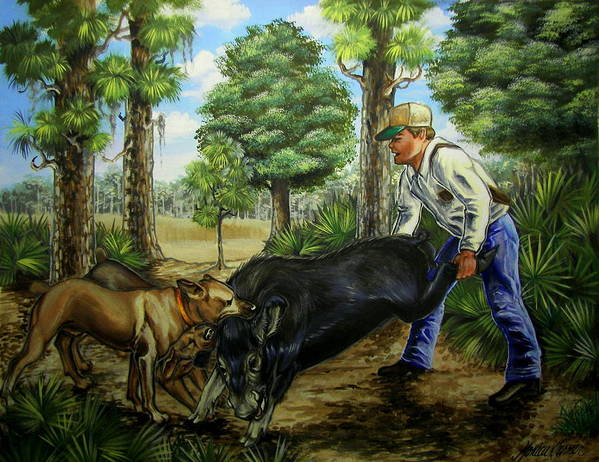 Hog Poster featuring the painting Horace's Hunt by Monica Turner