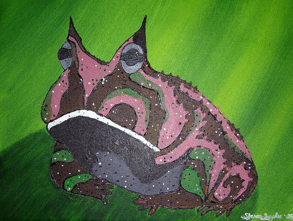 Amazon Horned Frog Poster featuring the painting Horny by Sharon Supplee