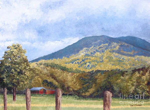 Landscape Poster featuring the painting Horse Barn At Cades Cove by Todd Blanchard