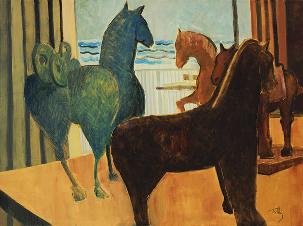 Still Life Poster featuring the painting Horse Collection by Thomas Tribby