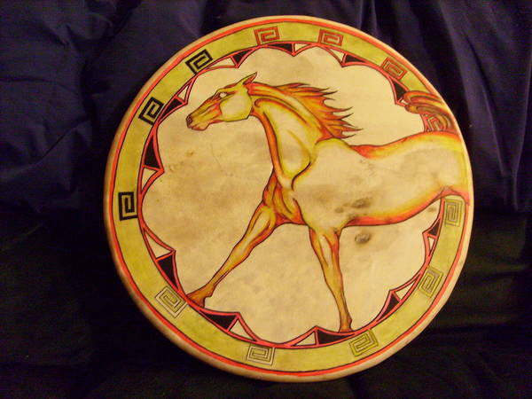 Drum Poster featuring the painting Horse Drum by Angelina Benson
