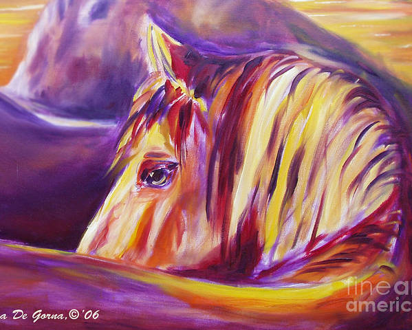 Horses Poster featuring the painting Horse World Detail by Gina De Gorna
