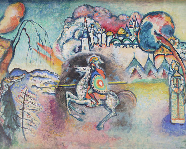 Wassily Kandinsky Poster featuring the painting Horseman. St. George by Wassily Kandinsky