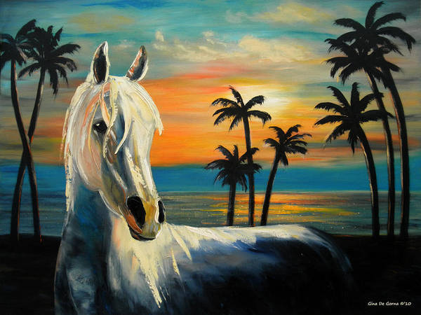 Horse Poster featuring the painting Horses In Paradise Tell Me Your Dream by Gina De Gorna