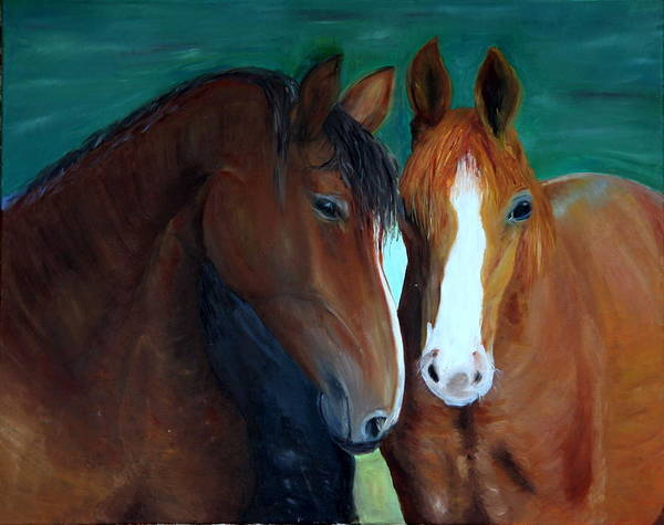 Horses Poster featuring the painting Horses by Taly Bar