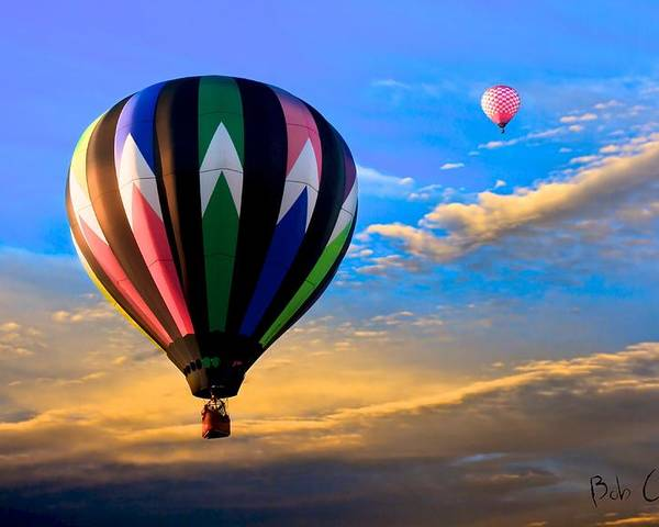 Hot Air Balloons At Sunset Poster By Bob Orsillo