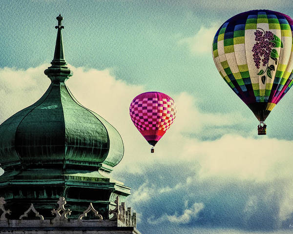 Hot Air Balloon Poster featuring the photograph Hot Air Balloons Float Over Lewiston Maine by Bob Orsillo