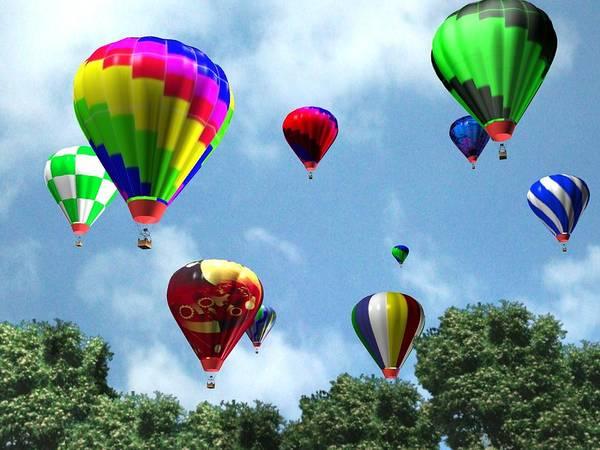 Ballons Poster featuring the digital art Hot Air Balloons by Kenneth Lambert