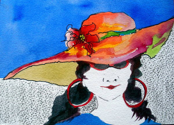 Lady In Hat Poster featuring the painting Hot Mama by Jane Ferguson