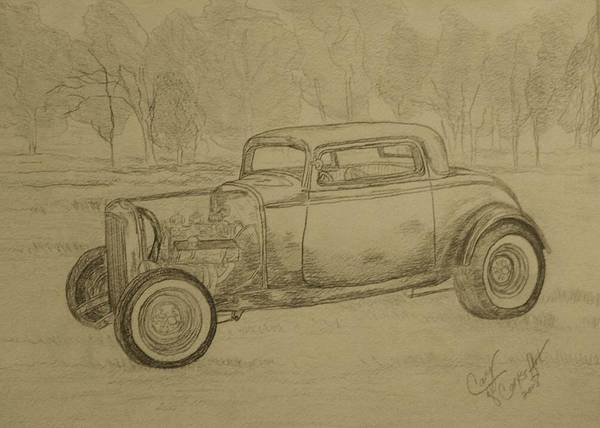 Antique Car Poster featuring the painting Hotrod 1934 Ford Coupe by Cary Singewald