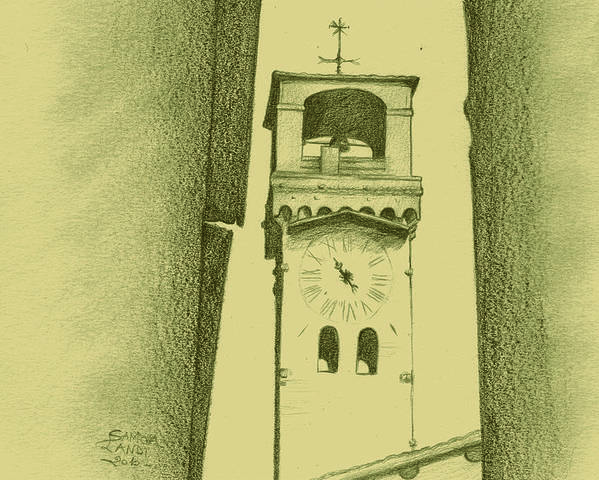 Landscape Poster featuring the painting hour tower Lucca by Samoa Landi