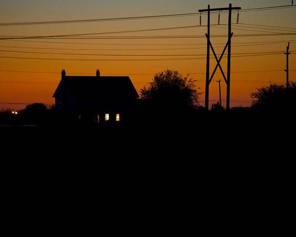 Sunset Poster featuring the photograph House At Sunset by Paul Kloschinsky