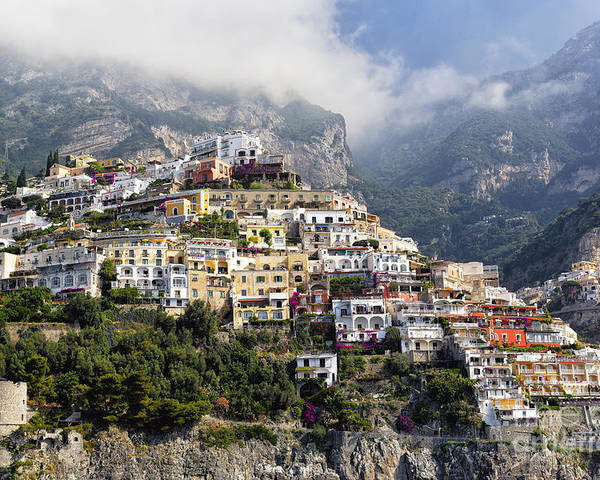 Positano Poster featuring the photograph Houses Built On A Hillside Positano Italy by George Oze
