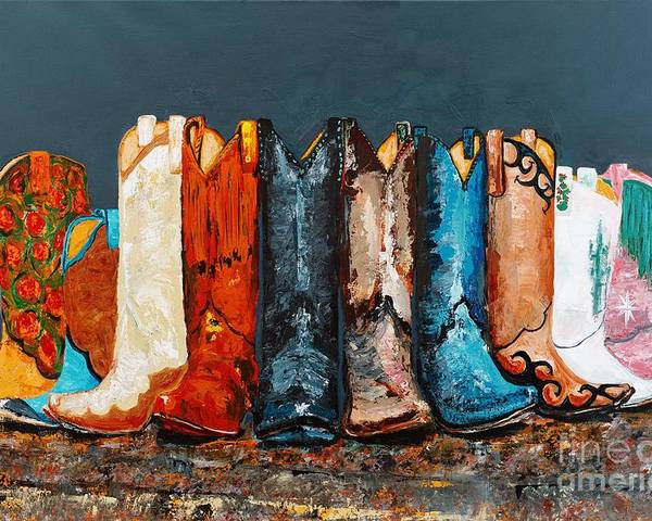 Cowboy Boots Poster featuring the painting How The West Was Really Won by Frances Marino