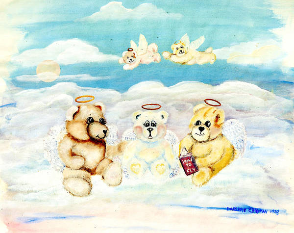 Teddy Bears Poster featuring the painting How To Fly by Darlene Green